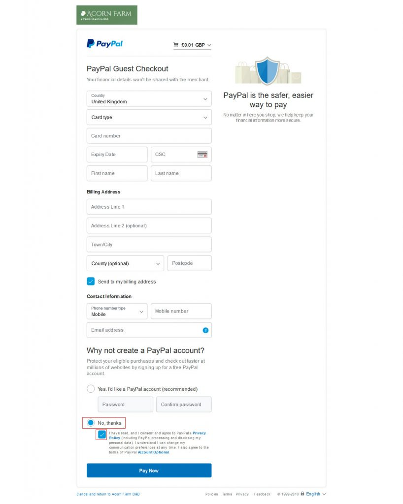 PayPal Credit Card Option